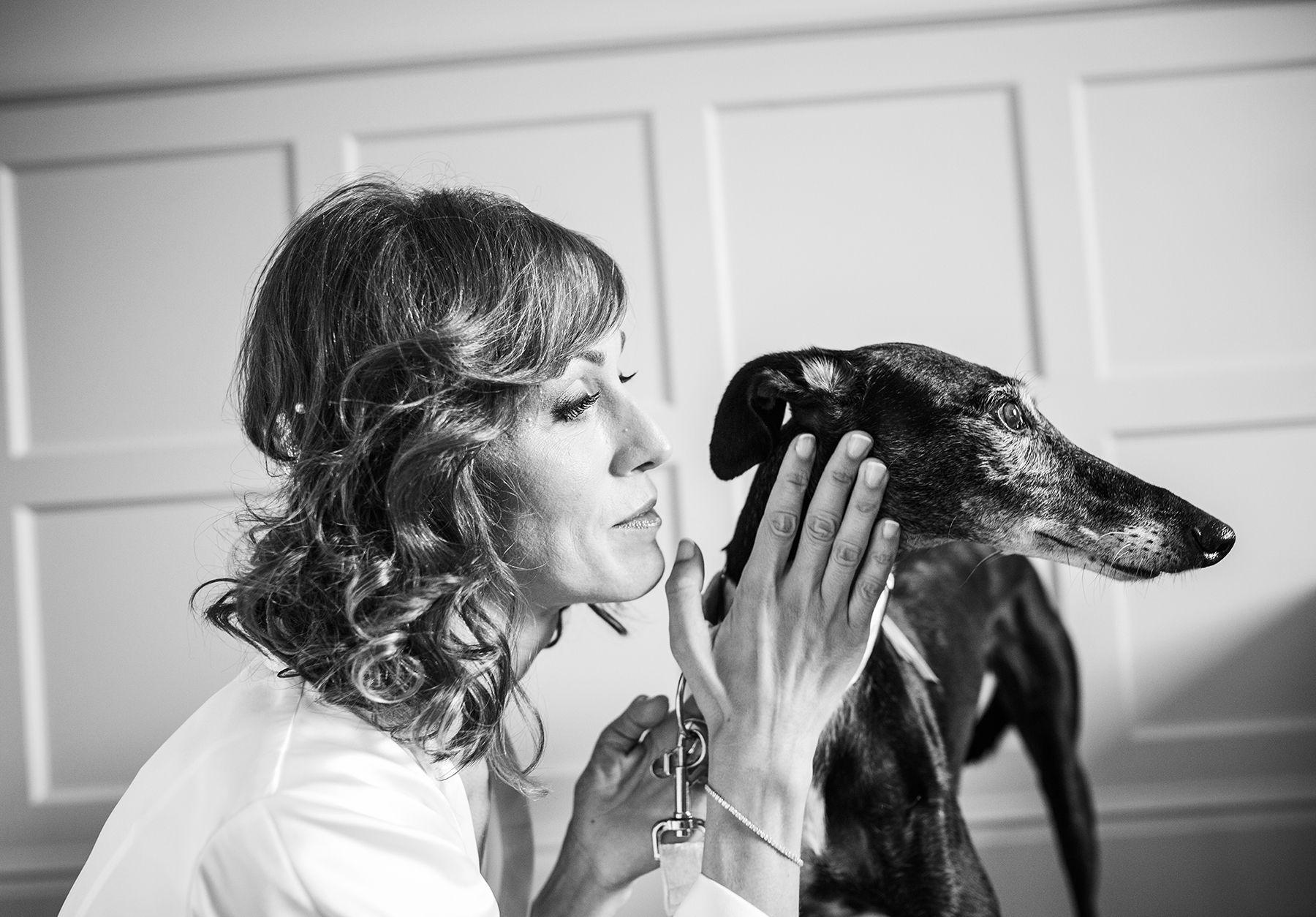 novia con perro galgo