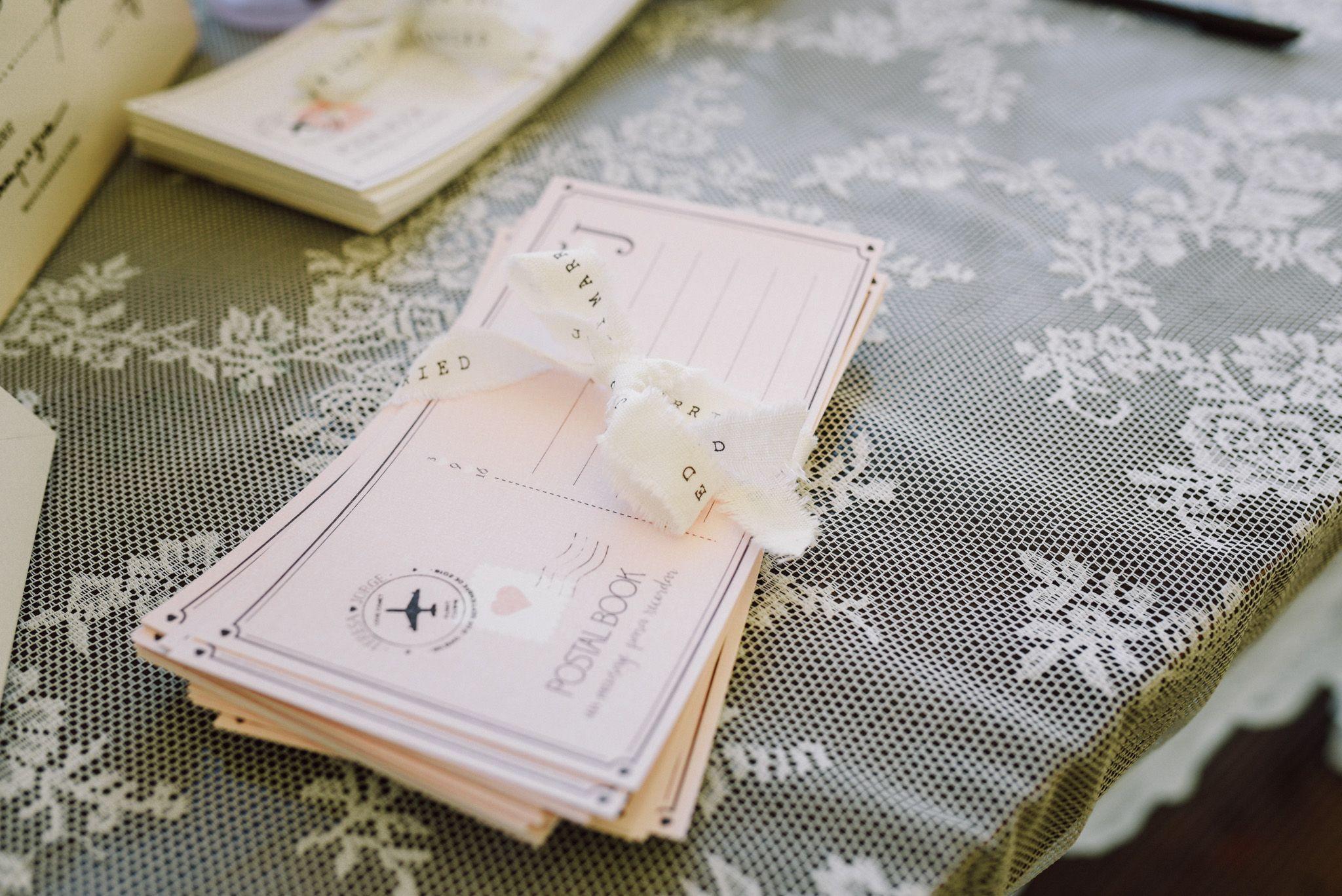 Detalle de las postales, libro de firmas diseñado por Conmemöra, boda Bilbao Hesperia Zubialde